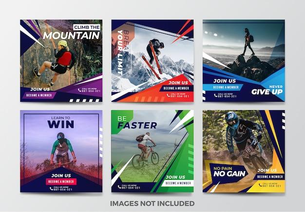 Sport raccolta di modelli di banner di media sociali Vettore Premium