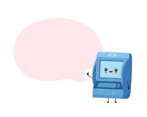 Sportello bancomat felice sorridente sveglio con il fumetto. personaggio dei cartoni animati piatto illustration.isolated su sfondo bianco. bancomat, concetto di personaggio atm Vettore Premium