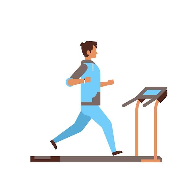 Sportivo in esecuzione sul tapis roulant ragazzo allenamento cardio Vettore Premium