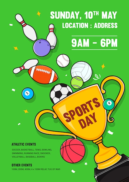 Sports day poster design invito Vettore Premium