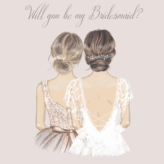 Sposa e damigella d'onore fianco a fianco, carta di invito a nozze. Vettore Premium