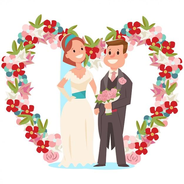 Sposa e sposo e un arco di nozze con i fiori. vector l'illustrazione del fumetto di una coppia di sposi con un mazzo nuziale isolato Vettore Premium