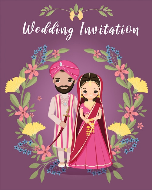 Sposa e sposo indiani svegli con la corona floreale per la carta degli inviti di nozze Vettore Premium