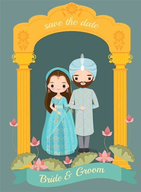 Sposa e sposo indiani svegli sulla carta dell'invito di nozze Vettore Premium