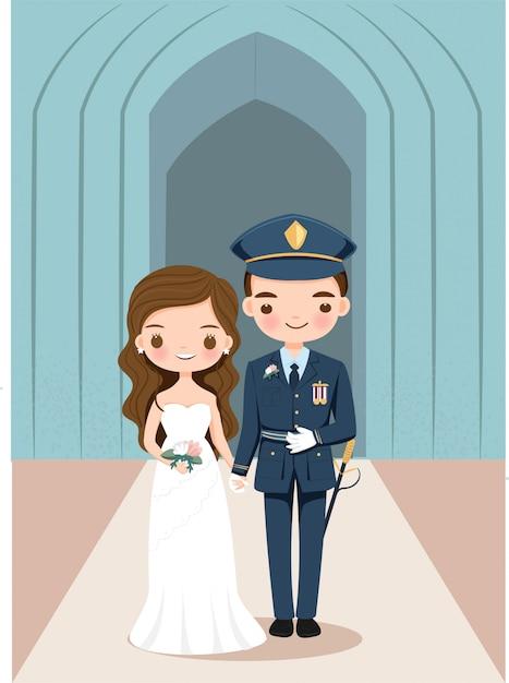 Sposa e sposo svegli nel personaggio dei cartoni animati dell'uniforme militare Vettore Premium