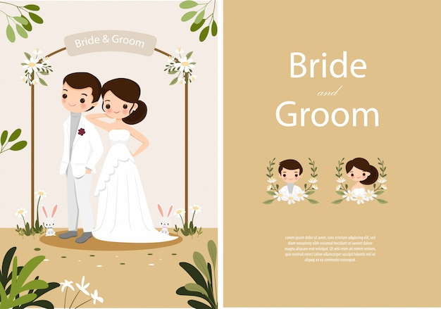 Sposa e sposo svegli sul modello della carta degli inviti di nozze Vettore Premium