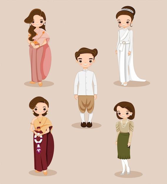 Sposa e sposo tailandesi svegli in vestito tradizionale per la carta dell'invito di nozze Vettore Premium