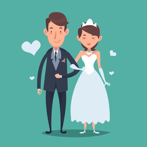 Sposi bella in stile cartone animato scaricare vettori