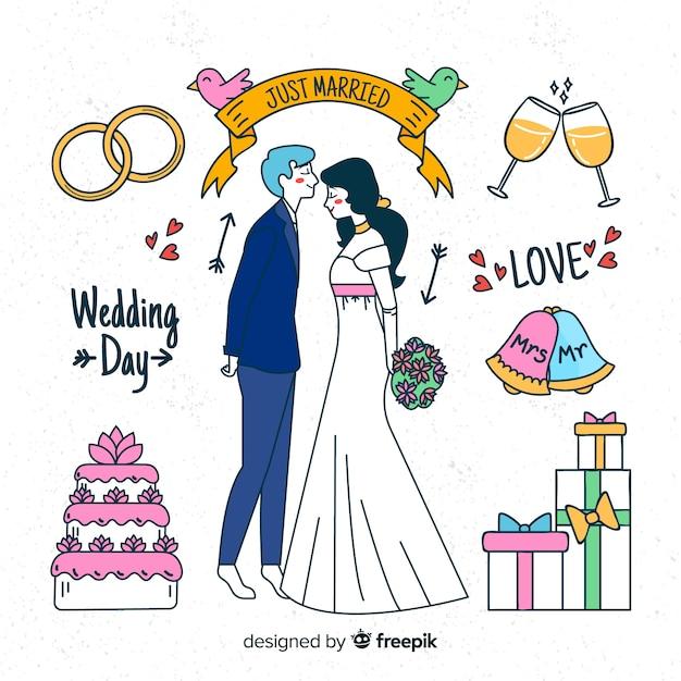 Sposi disegnati a mano con elementi Vettore gratuito