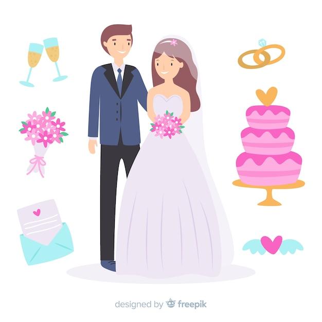 Sposi disegnati a mano con ornamenti Vettore gratuito