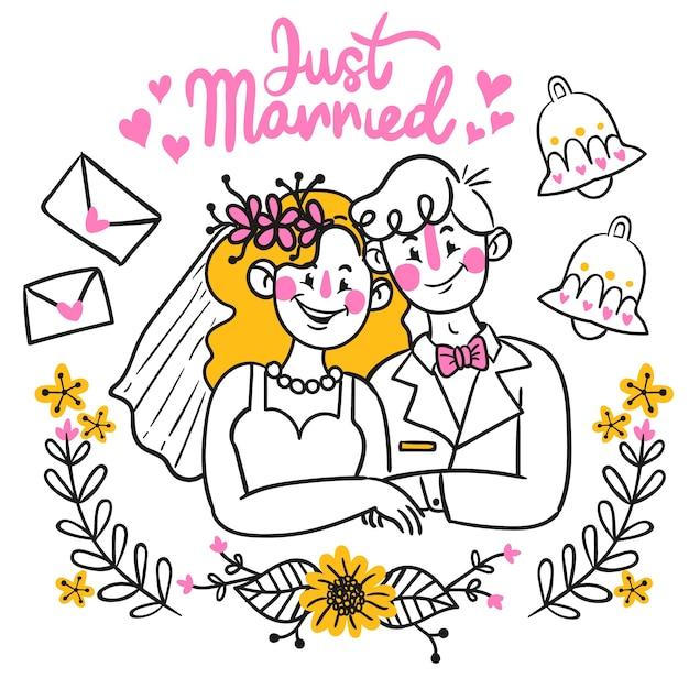 Sposi disegnati a mano Vettore gratuito