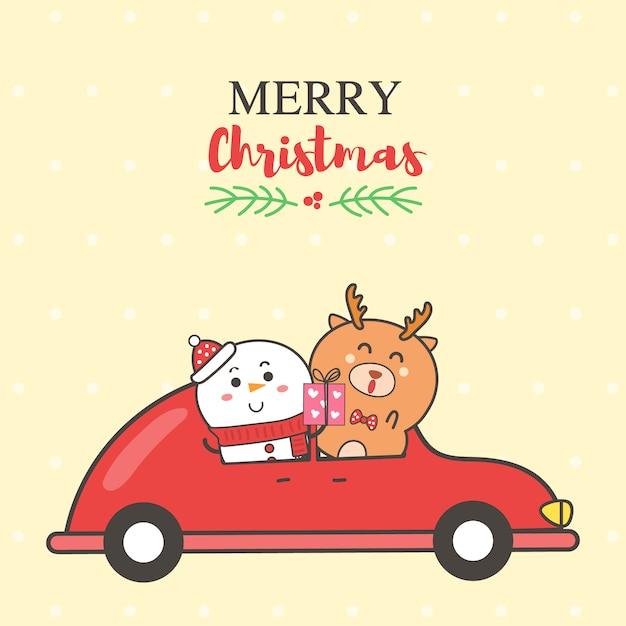 Sposi il pupazzo di neve e la renna della cartolina di natale sul fumetto rosso dell'automobile disegnato a mano. Vettore Premium
