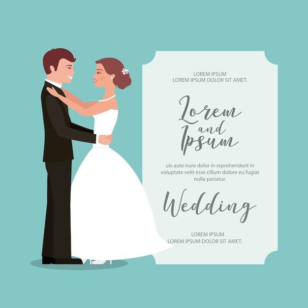 Sposi la loro prima partecipazione di nozze Vettore Premium