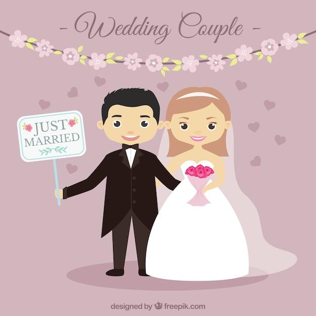 Sposi nizza con un segno Vettore gratuito