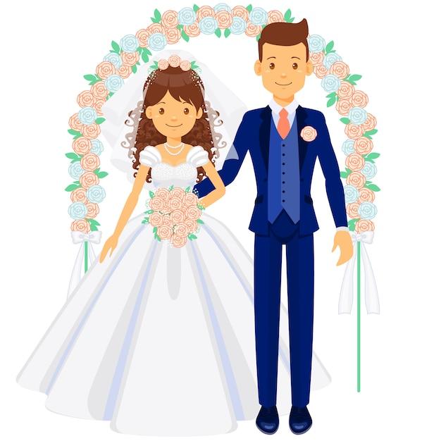 Sposi, sposa e sposo sotto l'arco Vettore Premium