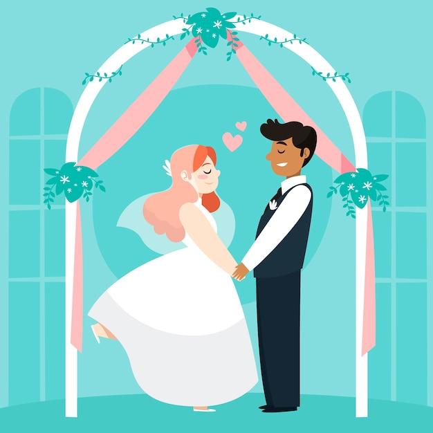 Sposi sposarsi Vettore gratuito
