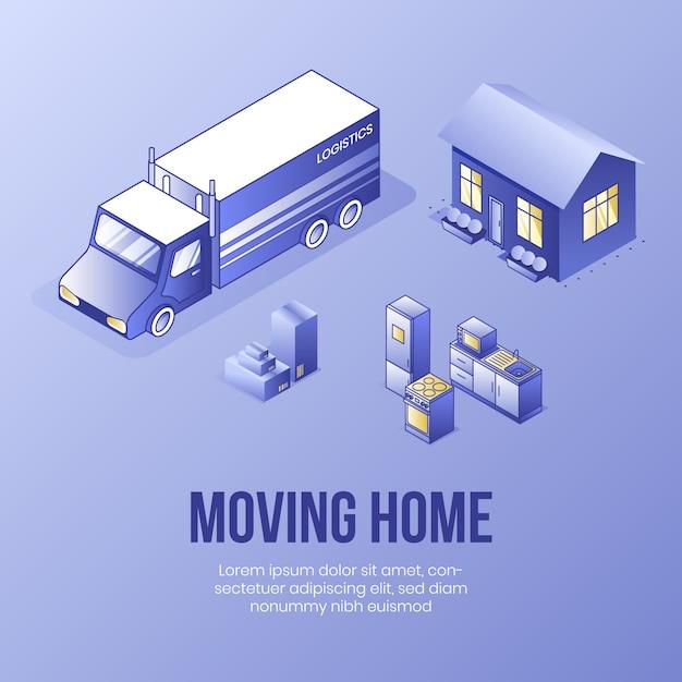 Spostamento a casa. concetto di design isometrico digitale Vettore Premium