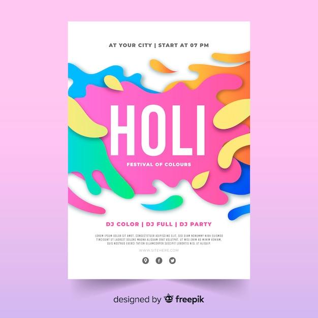 Spots holi festival party poster Vettore gratuito