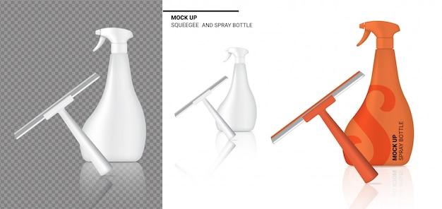 Spray bottle mock up realistico pulizia del tergipavimento. Vettore Premium