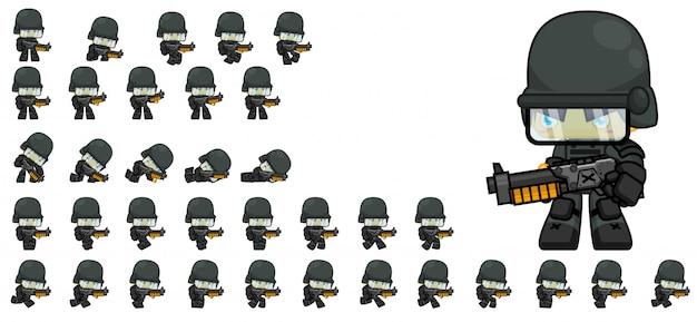 Sprite del soldato Vettore Premium
