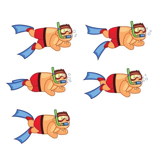 Sprite di animazione del fumetto di fat boy diver Vettore Premium