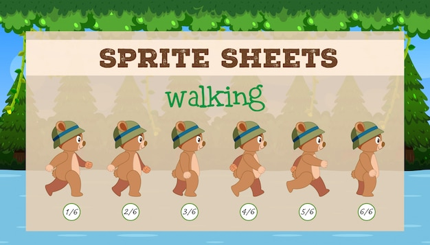 Sprite sheet brown bear walking Vettore gratuito