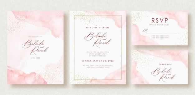 Spruzzata dell'acquerello bella carta di nozze e scintillii d'oro Vettore Premium