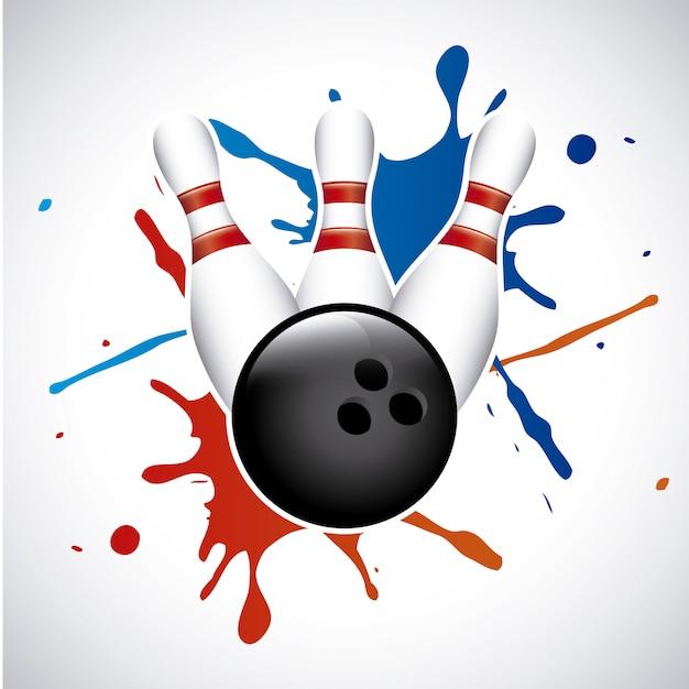 Spruzzata di bowling sopra illustrazione vettoriale sfondo grigio Vettore Premium