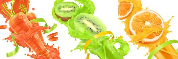 Spruzzata di carota, kiwi, arancia di succo di frutta, frutta e verdura, icone Vettore Premium