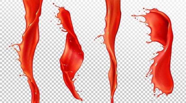 Spruzzata realistica di vettore e flusso di succo di pomodoro Vettore gratuito