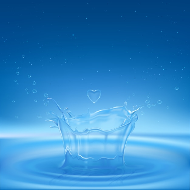 Spruzzi d'acqua a forma di corona con gocce spray, gocce di cuore e cerchi dispersi sulla superficie del liquido. Vettore gratuito