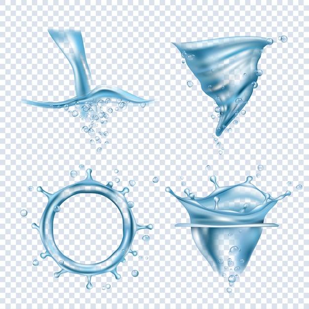 Spruzzi d'acqua immagini realistiche di vettore di whirlpool di acqua dinamica dinamica chiazze di liquidi liquidi oggetto gocce trasparenti Vettore Premium
