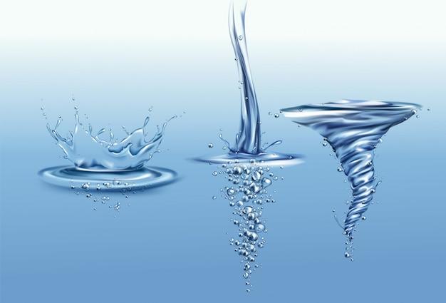 Spruzzi la corona con le gocce e le onde sulla superficie dell'acqua pura, cadenti o versando con le bolle di aria Vettore gratuito