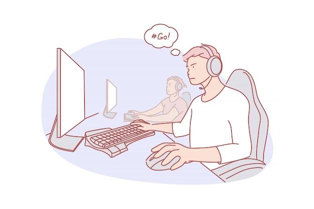 Squadra, cybersport, illustrazione del gioco Vettore Premium