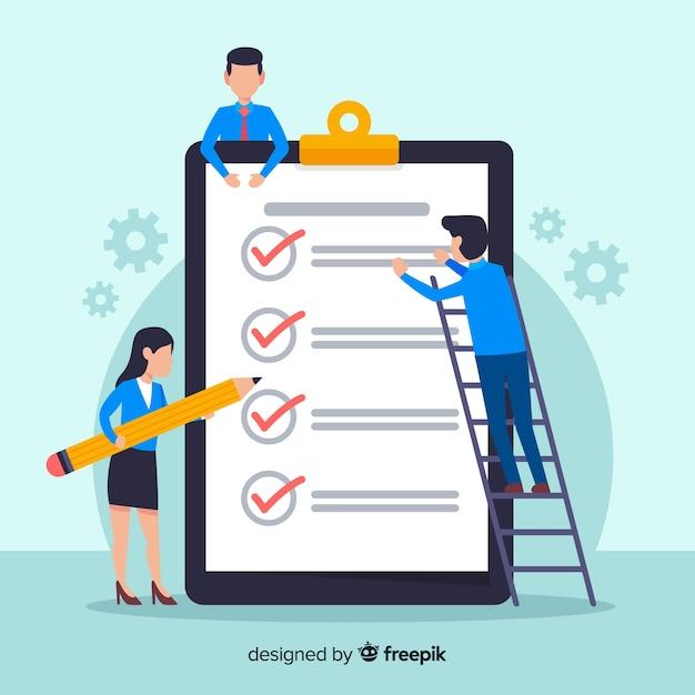 Squadra del lavoro che controlla la priorità bassa gigante della lista di controllo Vettore gratuito