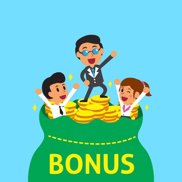 Squadra di affari dei cartoni animati con sacchetto di denaro bonus Vettore Premium