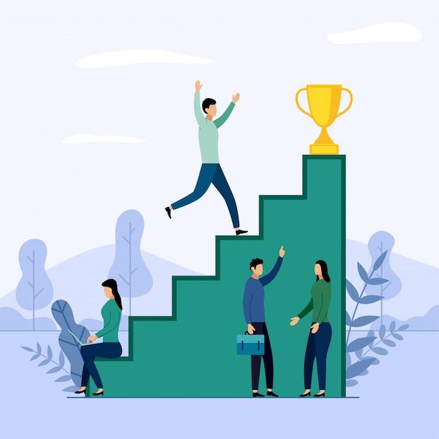 Squadra di affari e concorrenza, successo, successo, sfida, illustrazione di affari Vettore Premium