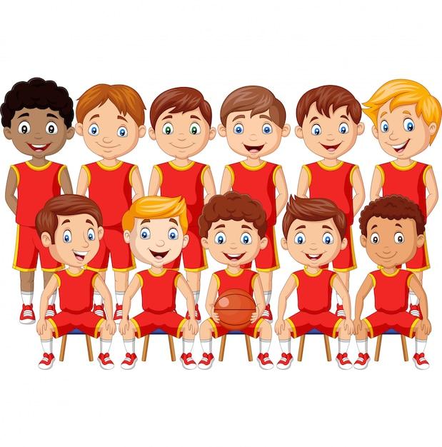 Squadra di bambini di pallacanestro del fumetto in uniforme Vettore Premium