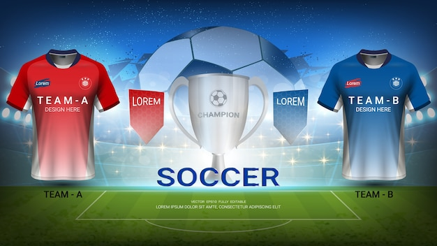 Squadra di calcio a vs squadra b, torneo di finale di sport Vettore Premium