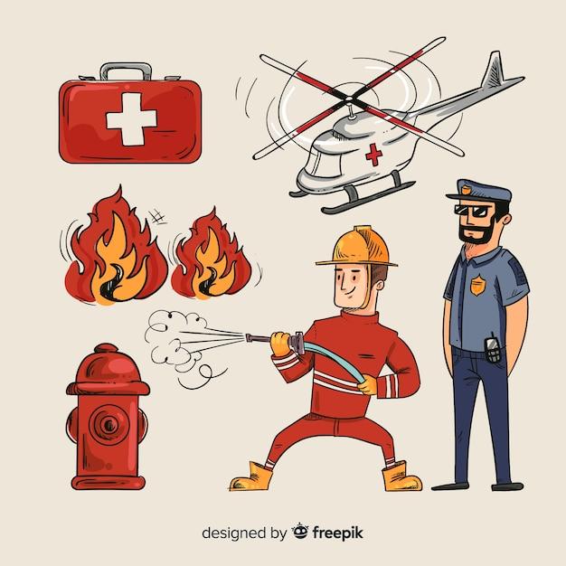 Squadra di emergenza professionale disegnata a mano Vettore gratuito