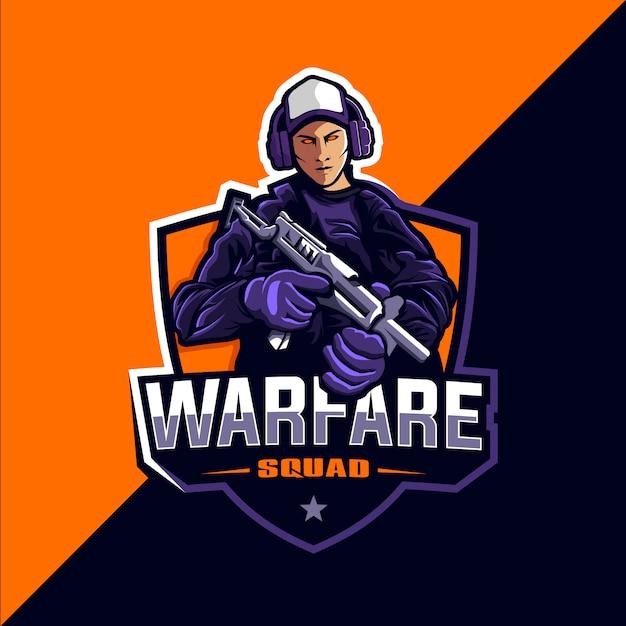 Squadra di guerra gioco esport logo Vettore Premium