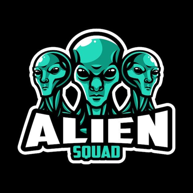 Squadra di logo dello sport alieno Vettore Premium
