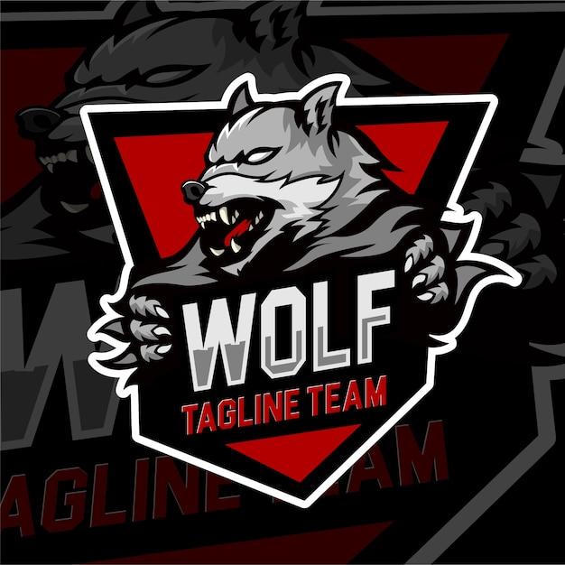 Squadra di lupo distintivo del logo di gioco di esports Vettore Premium