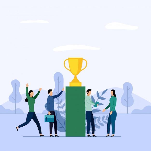 Squadra e concorrenza di affari, risultato, riuscito, sfida, illustrazione di concetto di affari Vettore Premium