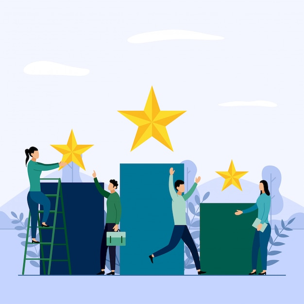 Squadra e concorrenza di affari, risultato, riuscito, sfida, illustrazione di vettore di concetto di affari Vettore Premium