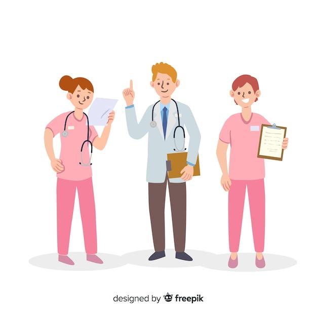 Squadra infermiera disegnata a mano Vettore gratuito