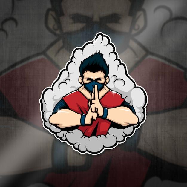 Squadra ninja esports mascot logo Vettore Premium