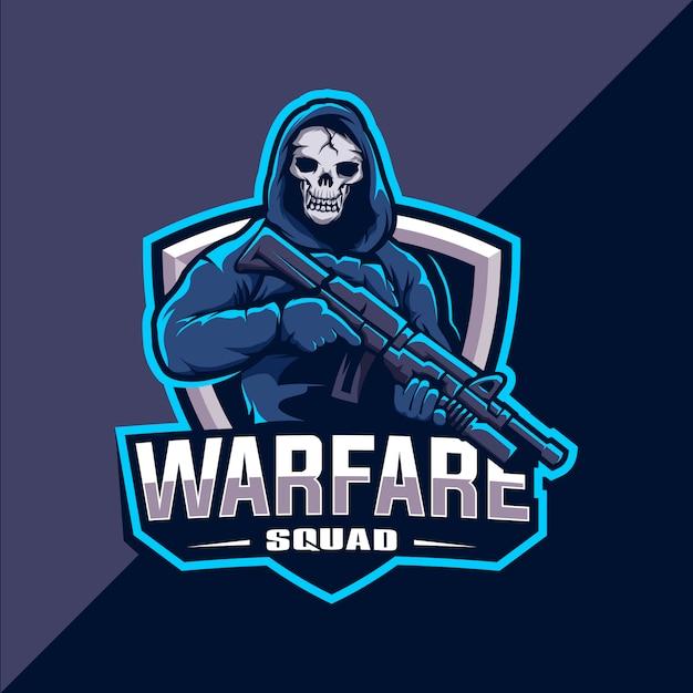Squadra teschio con logo mascotte pistola esport Vettore Premium
