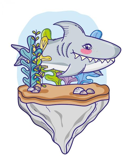 Squalo carino pesci tropicali nel mare Vettore Premium