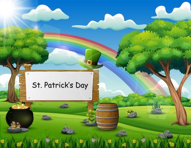 St patrick's day uno scudo di legno con testo scritto a mano sulla natura Vettore Premium